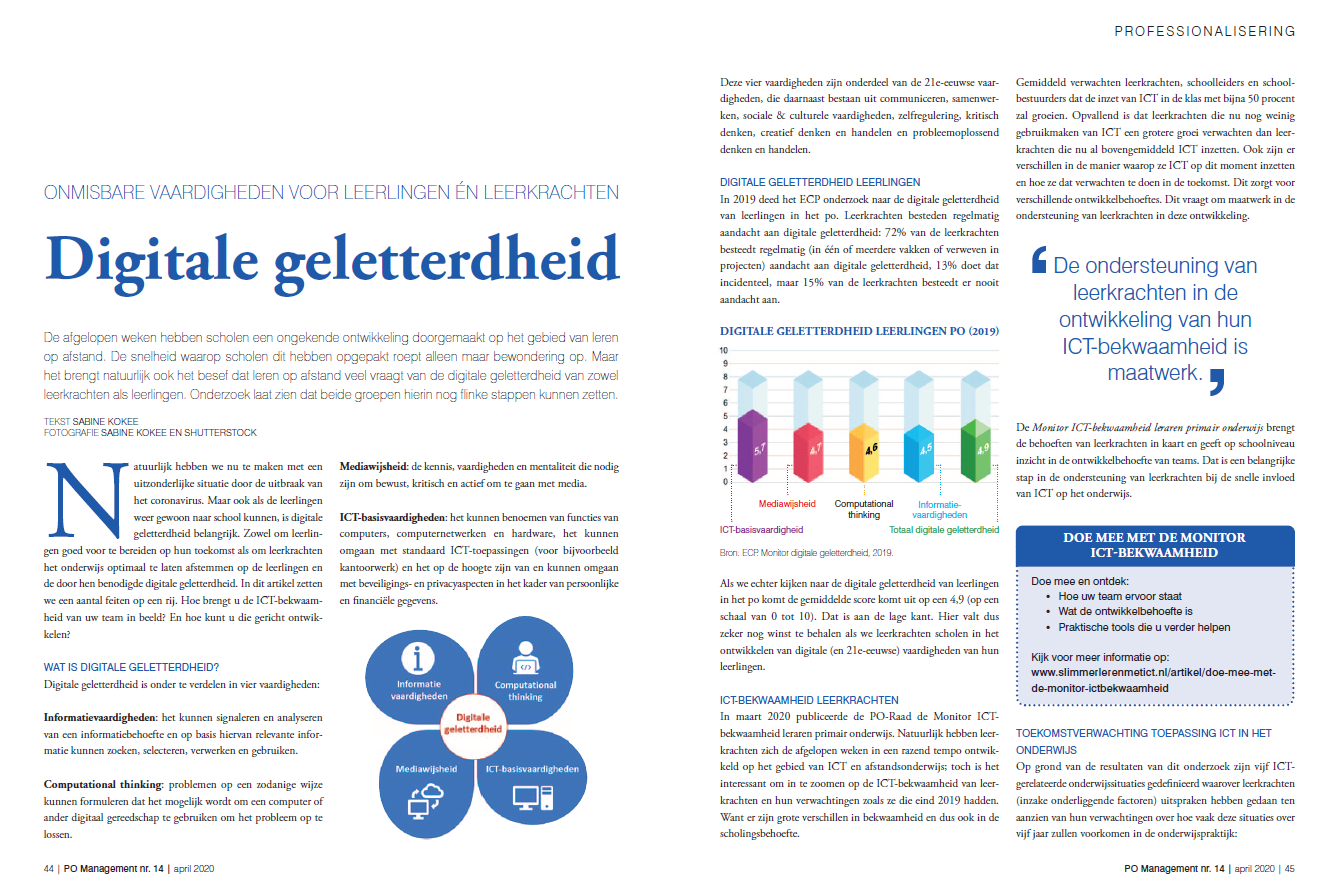 Artikel digitale geletterdheid PO Management